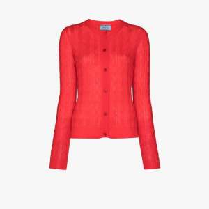 Prada Womens Red Cable Knitted Cardigan