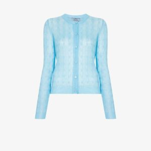Prada Womens Blue Cable Knit Cardigan