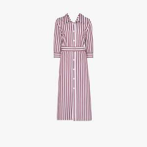 Marni Womens Red Stripe-pattern Midi Shirt Dress