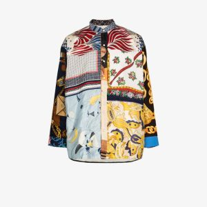 Children Of The Discordance Mens Multicolour Vintage Scarf Patchwork Shirt