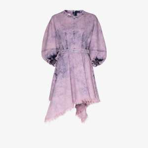 Marques'almeida Womens Purple Balloon Sleeve Hanky Hem Mini Dress