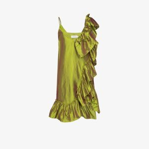 Marques'almeida Womens Green Ruffle Detail Silk Dress