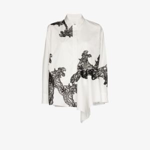 Marques'almeida Womens White Asymmetric Lace Shirt