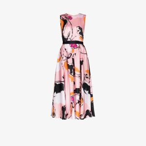 Roksanda Womens Pink Tibi Dance Print Silk Midi Dress