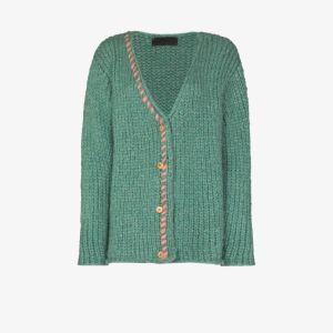 The Elder Statesman Womens Green Fuzz Chunky Cashmere Cardigan