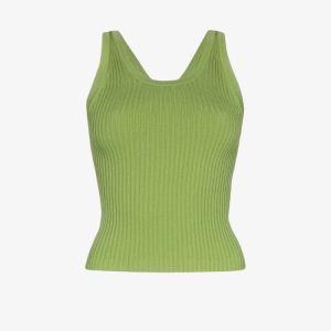 Matériel Womens Green Ribbed-knit Tank Top