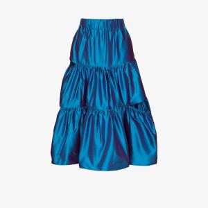 Marques'almeida Womens Blue Ruffled Silk Satin Midi Skirt