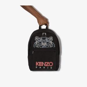 Kenzo Mens Black Tiger Logo Backpack