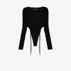 Y/project Womens Black V-neck Toggle Tie Bodysuit