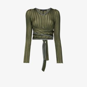 Y/project Womens Green Cropped Striped Wrap Top