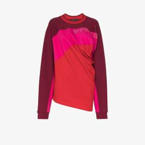 Y/project Womens Red Twisted Front Organic Cotton Sweater