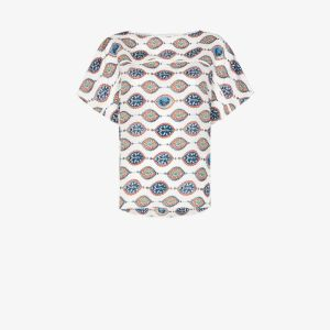 Chloé Womens Multicolour Ceramic-print Short-sleeve Top