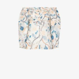Chloé Womens White Floral Off-the-shoulder Blouse