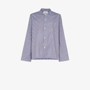 Tekla Womens Blue Organic Cotton Pyjama Shirt