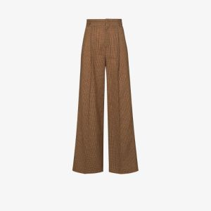 Chloé Womens Brown Houndstooth Flared Trousers