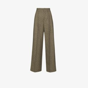 Chloé Womens Green Houndstooth-pattern Wide-leg Trousers
