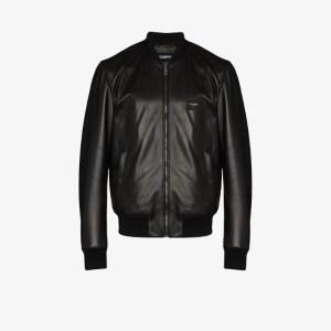 Dolce & Gabbana Mens Black Logo Plaque Bomber Jacket