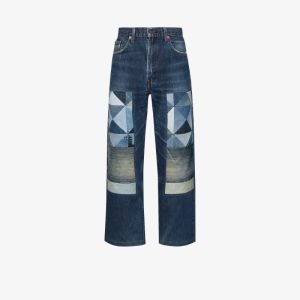 Children Of The Discordance Mens Blue Straight Leg Patchwork Jeans