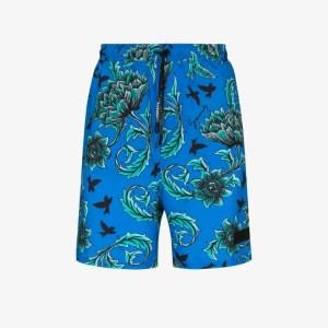 Givenchy Mens Blue Floral Print Swim Shorts