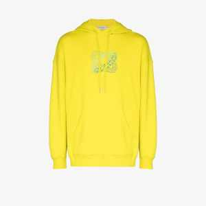 Givenchy Mens Yellow Infinity Logo Cotton Hoodie