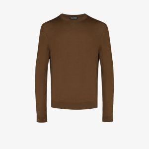 Tom Ford Mens Brown Crew Neck Merino Wool Sweater