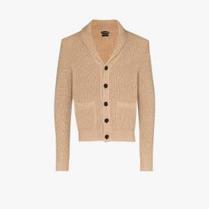 Tom Ford Mens Neutrals Shawl Collar Cashmere Mohair Cardigan