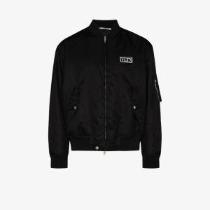 Valentino Mens Black Logo Bomber Jacket