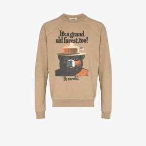 Phipps Mens Neutrals Smokey Bear Graphic Organic Cotton Sweatshirt