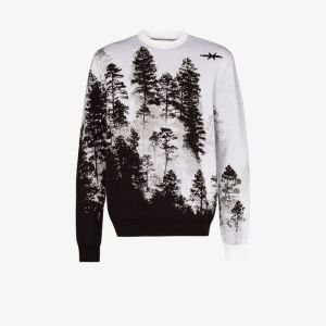 Phipps Mens Brown Treescape Crew Neck Wool Sweater
