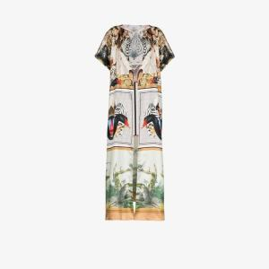 Burberry Womens White Montage-print Long Cape