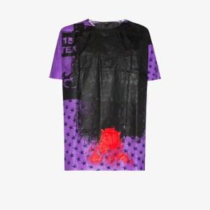 Raf Simons Mens Purple Hand-painted Hospital Shirt