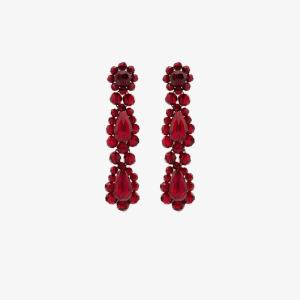 Simone Rocha Womens Red Blood Red Crystal Drop Earrings