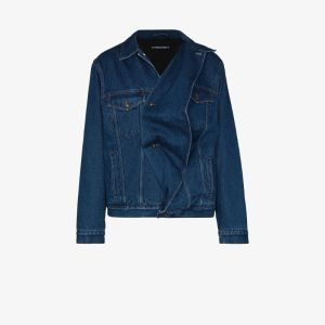 Y/project Mens Blue Twisted Denim Jacket