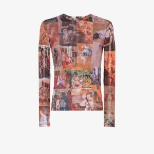 Y/project Mens Brown Painting Graphic-print T-shirt