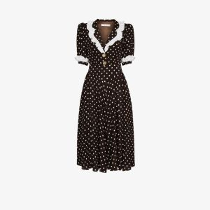 Alessandra Rich Womens Brown Polka-dot Ruffled Midi Dress