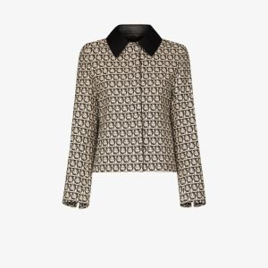 Salvatore Ferragamo Womens Black Gancini Monogram-print Jacket