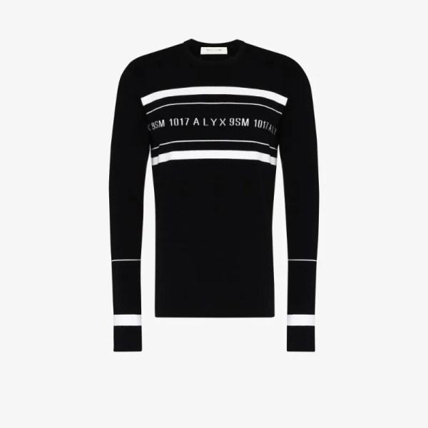 1017 Alyx 9sm Mens Black Logo-intarsia Crew-neck Jumper
