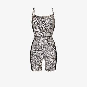 The Upside Womens Black Spin Zebra-print Playsuit