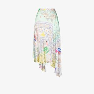 Mira Mikati Womens Yellow Printed Asymmetric Hem Midi Skirt