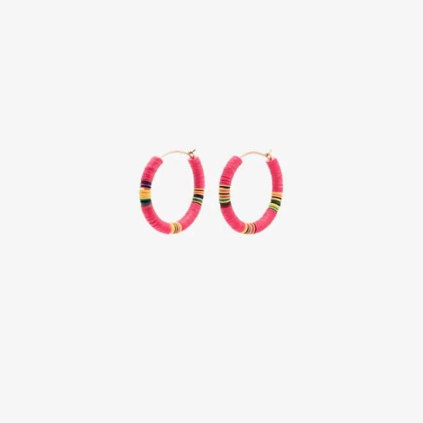 All The Must Womens Pink Beaded Hoop Earrings