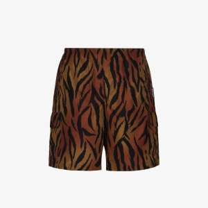 Palm Angels Mens Brown Tiger Print Swim Shorts
