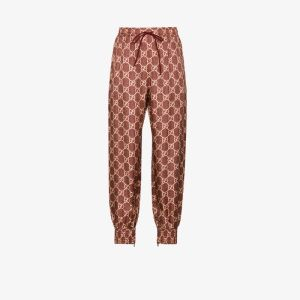 Gucci Womens Red Gg Supreme Canvas Track Pants
