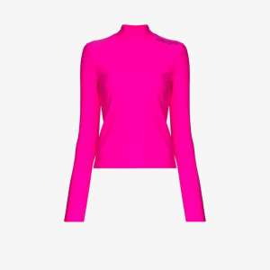 Palm Angels Womens Pink Mock Neck Performance Top