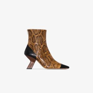 Rejina Pyo Womens Brown 80 Snake Print Leather Ankle Boots
