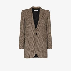 Saint Laurent Womens Multicolour Prince Of Wales Tweed Blazer Jacket
