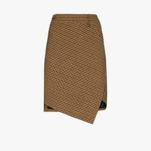 Balenciaga Womens Brown Houndstooth Twisted Mini Skirt