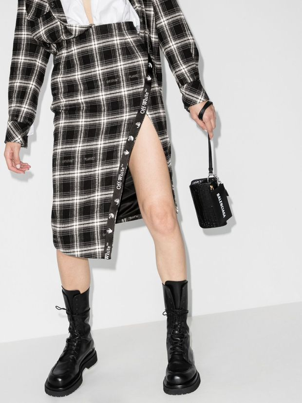Image 2 of Off-White check-print asymmetric pencil skirt