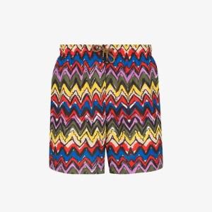 Missoni Mens Red Zigzag Print Swim Shorts