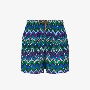 Missoni Mens Blue Zigzag Print Swim Shorts