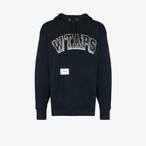 Wtaps Mens Blue Logo-print Hoodie